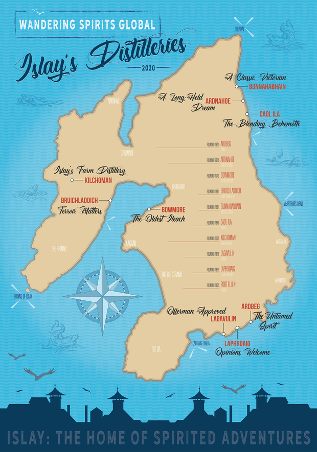 Islay Distilleries Map Blue Sea Matte Poster by Wandering Spirits Global