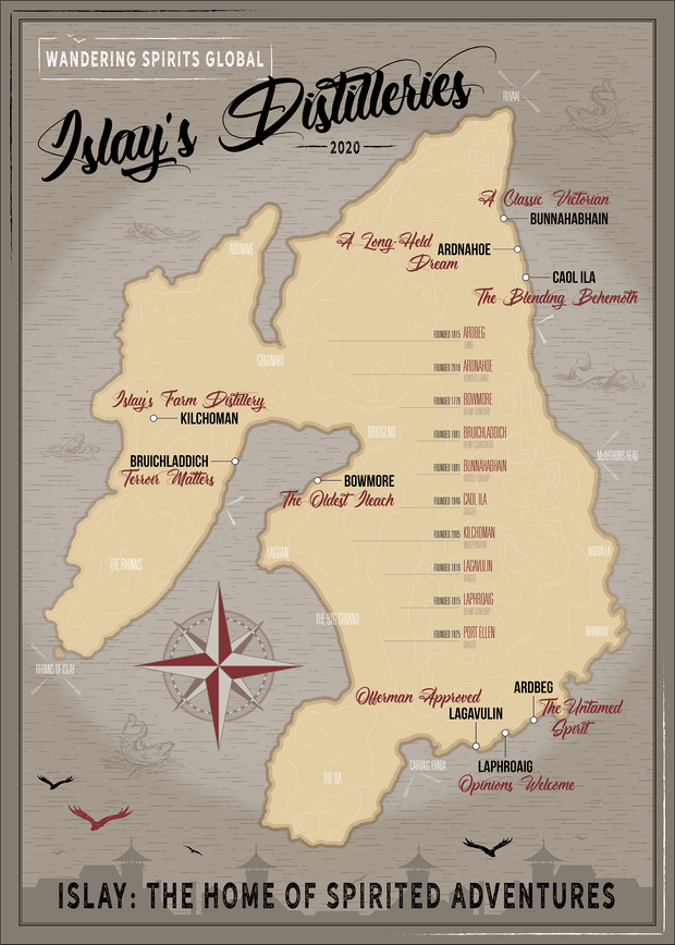 Islay Distilleries Map Dark Toned Matte Poster by Wandering Spirits Global