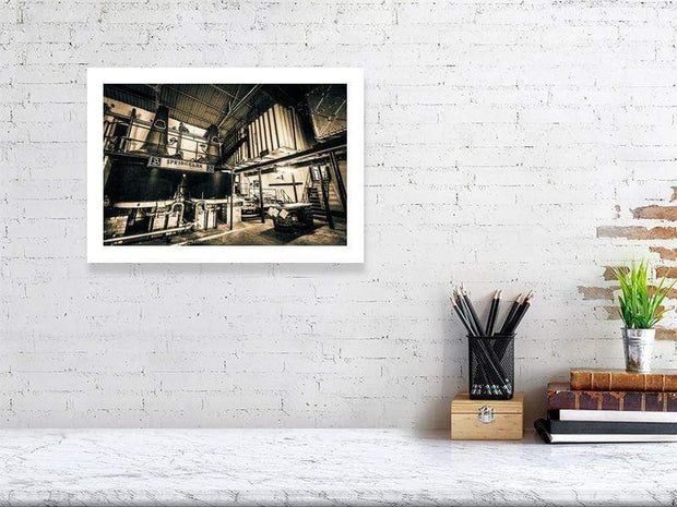 29.6 cm x 42.0 cm, 11.7 inches x 16.6 inches Springbank Distillery Black and White Fine Art Print by Wandering Spirits Global
