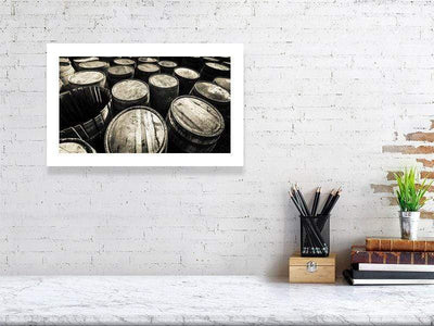 28.9 cm x 46.6 cm, 11.4 inches x 18.4 inches Dalmore Distillery Casks Golden Toned Fine Art Print by Wandering Spirits Global