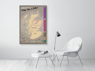84.0 cm x 118.8 cm, 33.1 inches x 46.8 inches Scotland Distillery Map Fine Art Print by Wandering Spirits Global