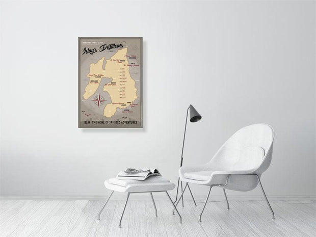 59.4 cm x 84.0 cm, 23.4 inches x 33.1 inches Islay Distilleries Map Dark Toned Fine Art Print by Wandering Spirits Global