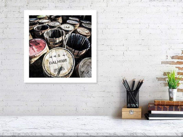 40.7 cm x 40.7 cm, 16.0 inches x 16.0 inches Dalmore Distillery Casks Fine Art Print by Wandering Spirits Global