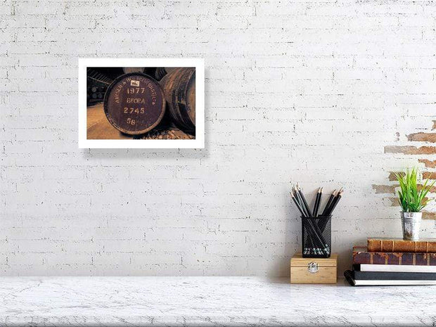 21.1 cm x 29.7 cm, 8.3 inches x 11.7 inches Brora 1977 Cask Fine Art Print by Wandering Spirits Global