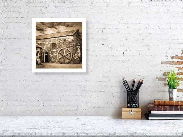 30.5 cm x 30.5 cm, 12.0 inches x 12.0 inches Old Water Wheel Sepia Toned Fine Art Print by Wandering Spirits Global
