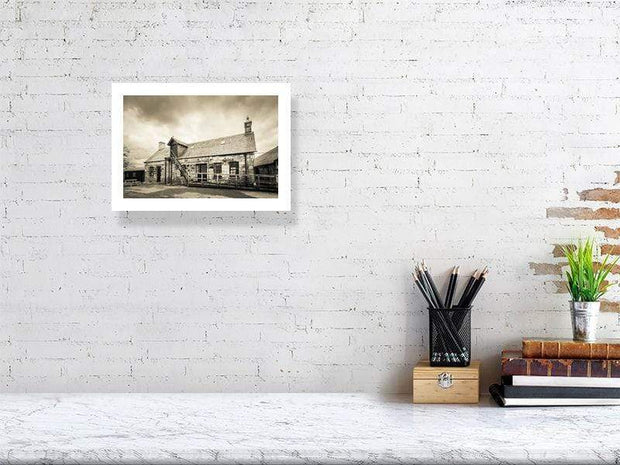 21.1 cm x 29.7 cm, 8.3 inches x 11.7 inches Clynelish Brora Distillery Office Golden Black and White Fine Art Print by Wandering Spirits Global