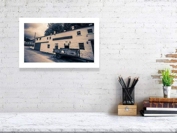 28.9 cm x 46.6 cm, 11.4 inches x 18.4 inches Edradour Distillery Purple Toned Fine Art Print by Wandering Spirits Global