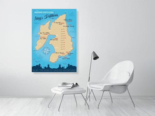 84.0 cm x 118.8 cm, 33.1 inches x 46.8 inches Islay Distilleries Map Blue Toned Fine Art Print by Wandering Spirits Global