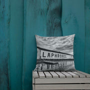 18×18 Laphroaig Distillery Black and White Premium Pillow by Wandering Spirits Global