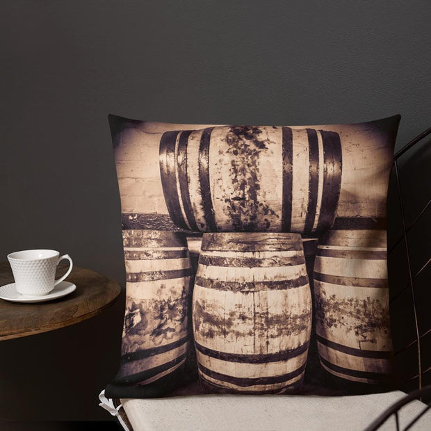 Octave Casks Sepia Toned Premium Pillow by Wandering Spirits Global