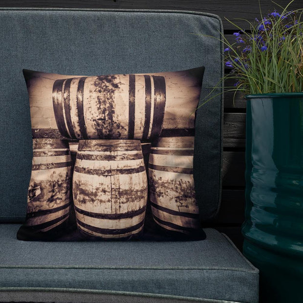 18×18 Octave Casks Sepia Toned Premium Pillow by Wandering Spirits Global