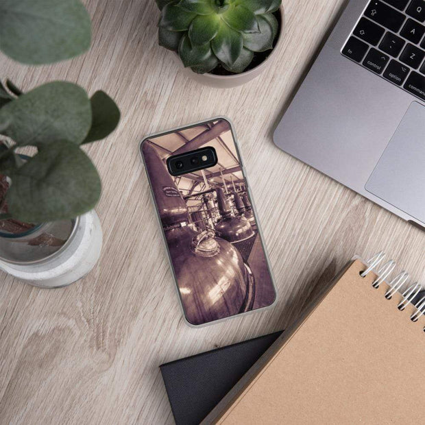 Samsung Galaxy S10e Spirit and Wash Stills Laphroaig Distillery Sepia Toned Samsung Case by Wandering Spirits Global
