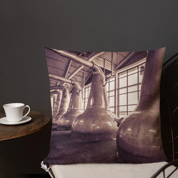 18×18 Still Squadron Caol Ila Sepia Toned Premium Pillow by Wandering Spirits Global