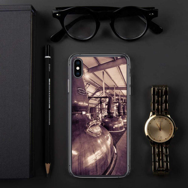 iPhone XS Max Spirit and Wash Stills Laphroaig Distillery Sepia Toned iPhone Case by Wandering Spirits Global