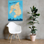 70×100 cm Islay Distillery Blue Sea Poster by Wandering Spirits Global
