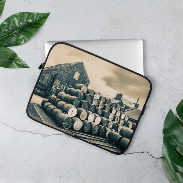 13 in Empty Casks Glengyle Golden Toned Laptop Sleeve by Wandering Spirits Global