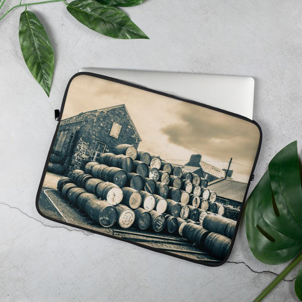15 in Empty Casks Glengyle Golden Toned Laptop Sleeve by Wandering Spirits Global