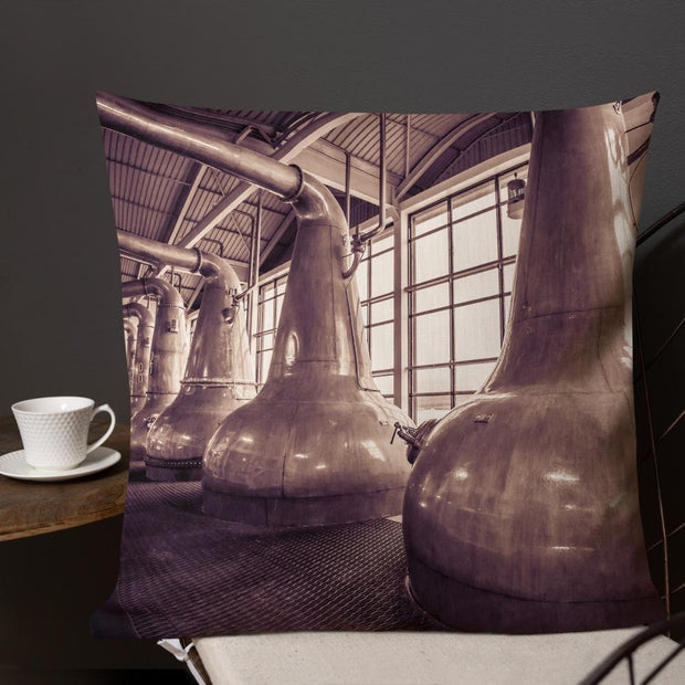 22×22 Still Squadron Caol Ila Sepia Toned Premium Pillow by Wandering Spirits Global