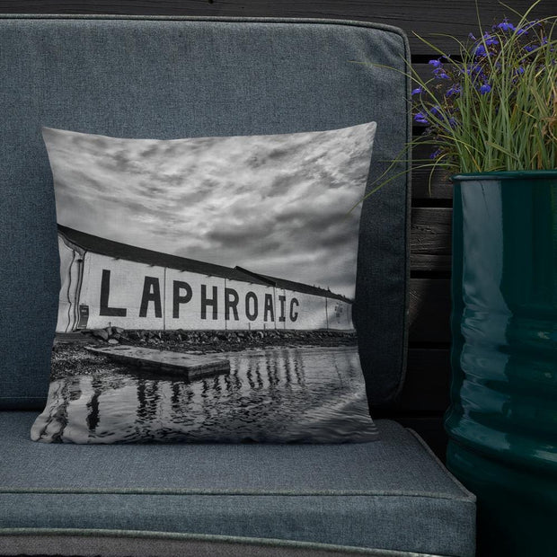 Laphroaig Distillery Black and White Premium Pillow by Wandering Spirits Global