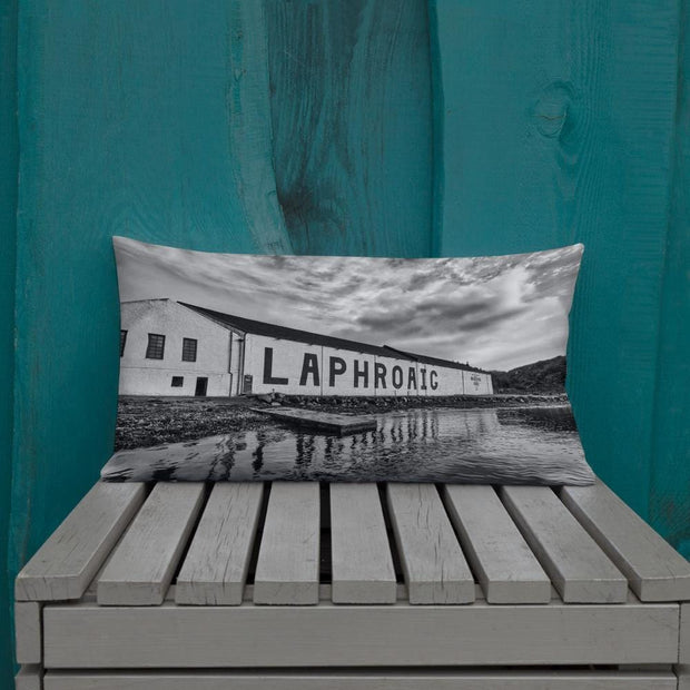 20×12 Laphroaig Distillery Black and White Premium Pillow by Wandering Spirits Global