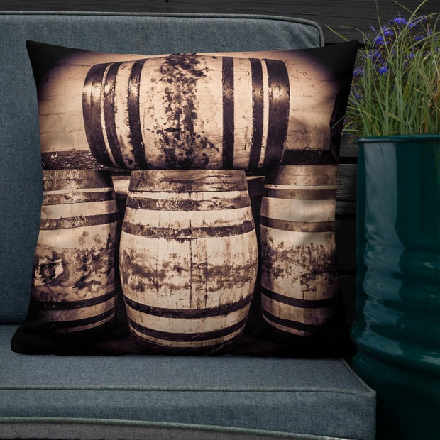 22×22 Octave Casks Sepia Toned Premium Pillow by Wandering Spirits Global