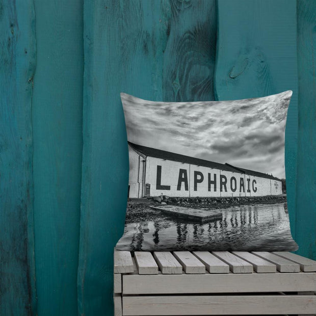 22×22 Laphroaig Distillery Black and White Premium Pillow by Wandering Spirits Global