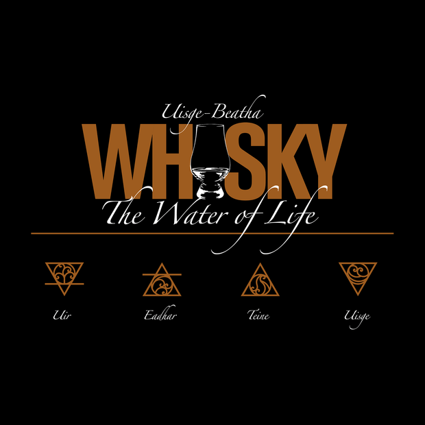 Glencairn style glass forming the i in Whisky in an amber block font. Uisge Beatha and The Water of Life in script font. Earth air fire water symbols and text in scottish gaelic underneath.