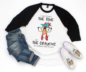 T-Shirt Black Raglan Crayons Explanation