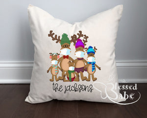 Reindeer Family with Masks Pillow
