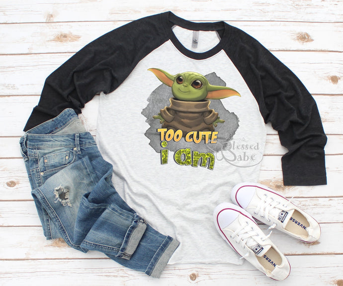 Alien T-Shirt Black Raglan Too Cute I Am