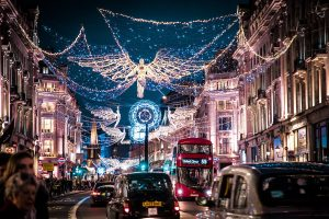 The city of London brighted by the Christmas decorations