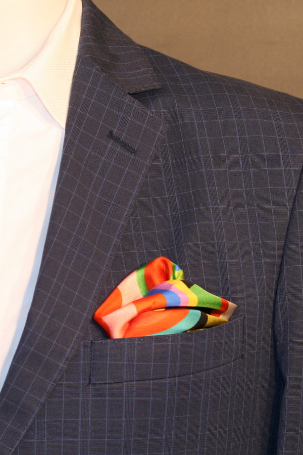 Printed silk pocket square inspired by Robert Delaunay's abstractionist art