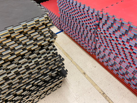 Used Red/Blue & Black/Wood Puzzle Mats