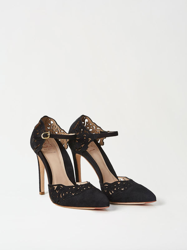 A Pair of Mavette Andria Black Heels Side-front View