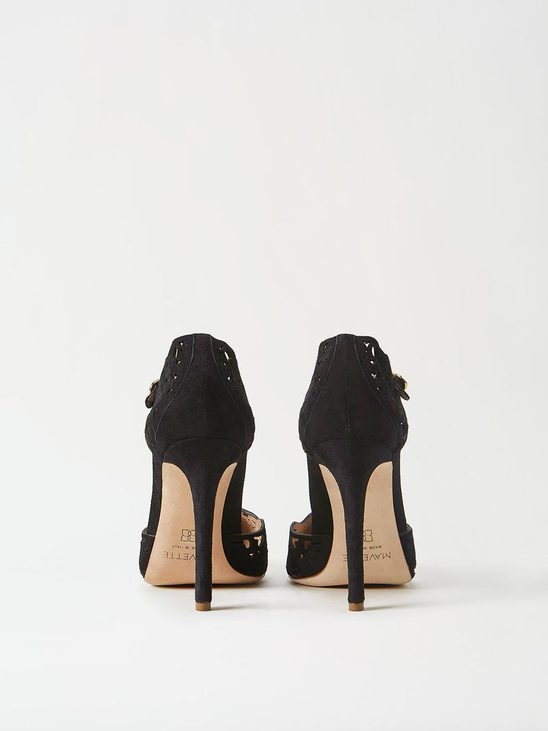 A Pair of Mavette Andria Dorsay Black Heels Back View