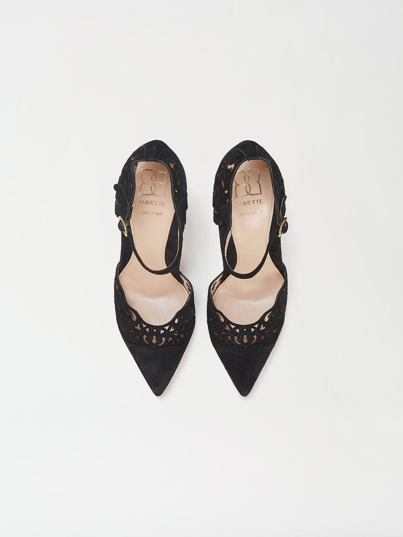 A Pair of Mavette Andria Dorsay Black Heels Top View