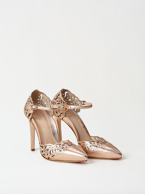 A Pair of Mavette Andria Dorsay Copper Rose Gold Heels Side-front View