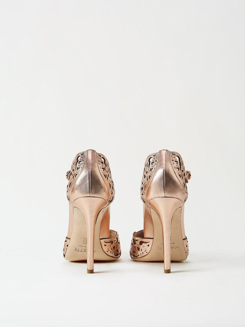 A Pair of Mavette Andria Dorsay Copper Rose Gold Heels Back View
