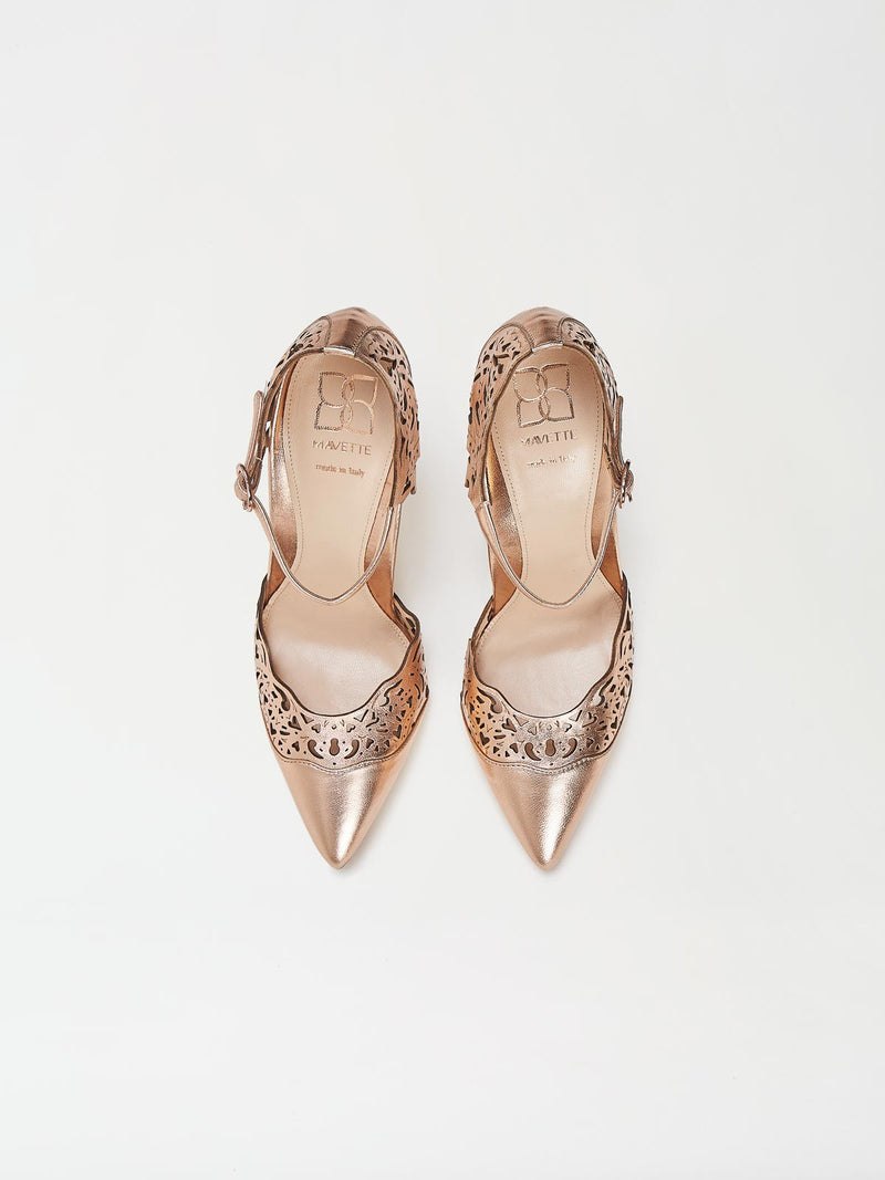 A Pair of Mavette Andria Dorsay Copper Rose Gold Heels Top View