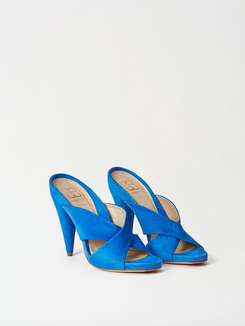 A Pair of Mavette Bari Sandals Blue Top-Side View