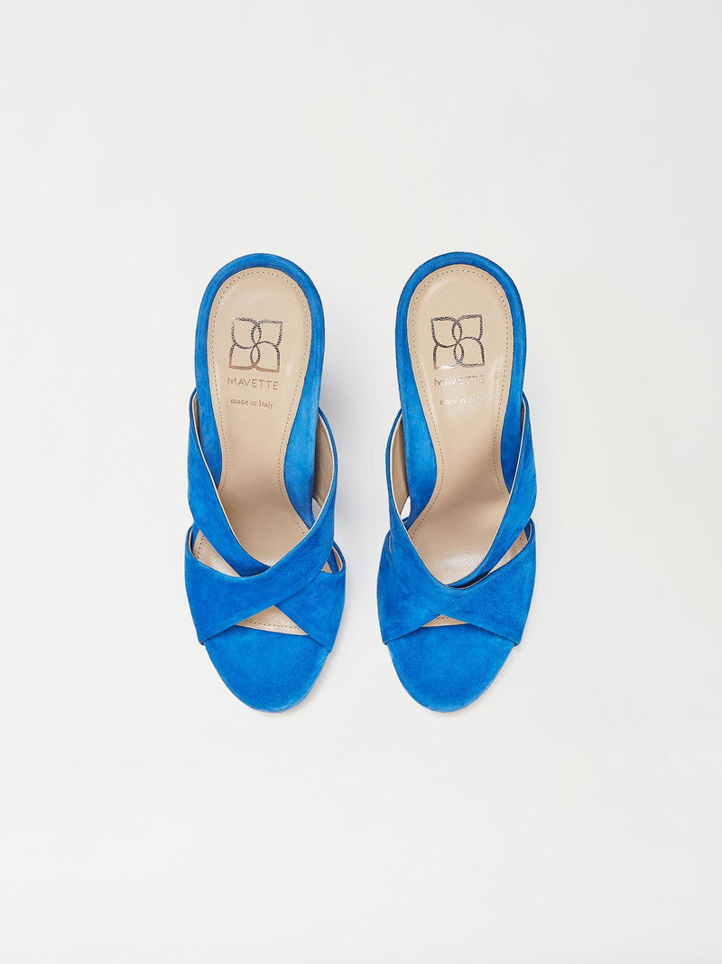 A Pair of Mavette Bari Sandals Blue Top View