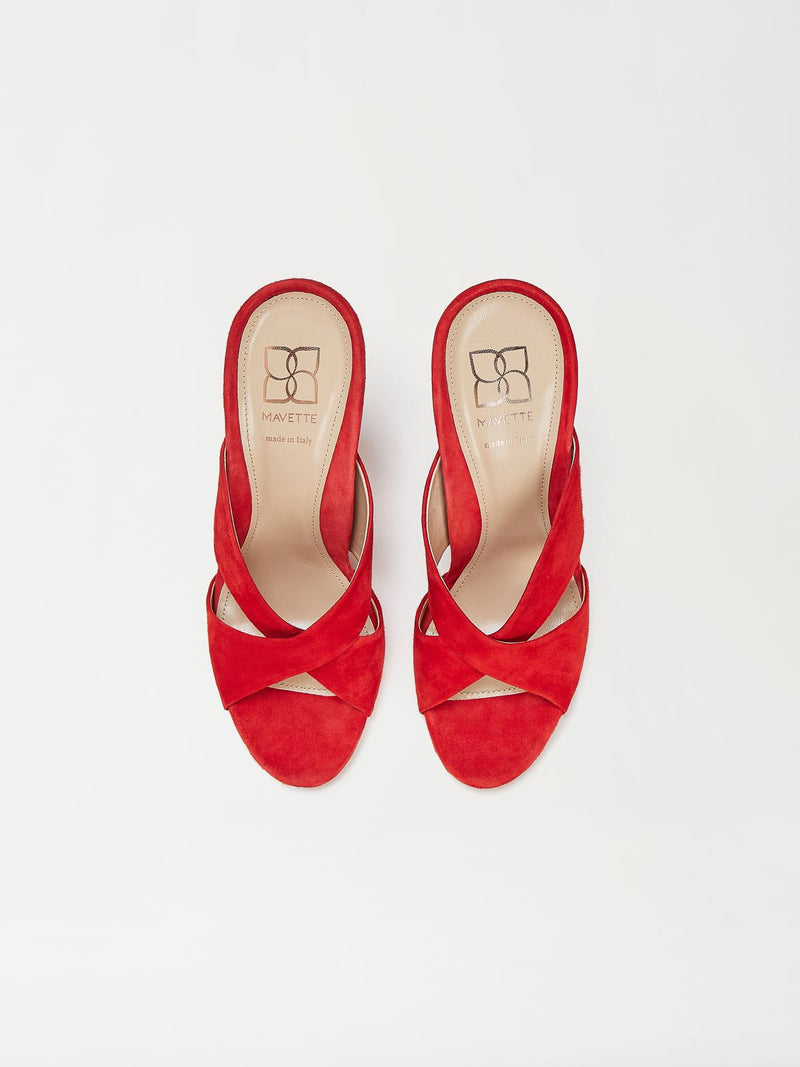 A Pair of Mavette Bari Sandals Red Top View
