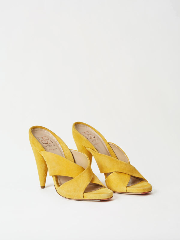 A Pair of Mavette Bari Sandals Yellow Top-Side View