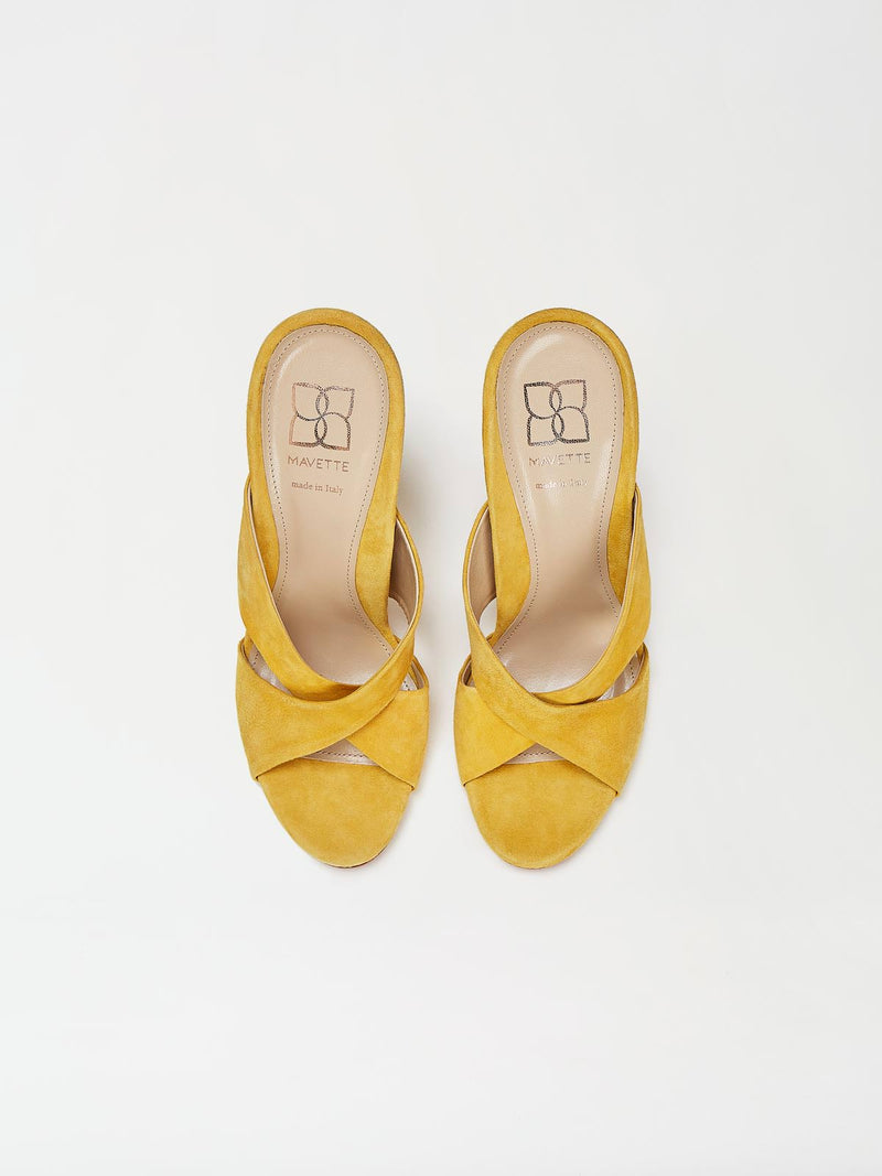 A Pair of Mavette Bari Sandals Yellow Top View