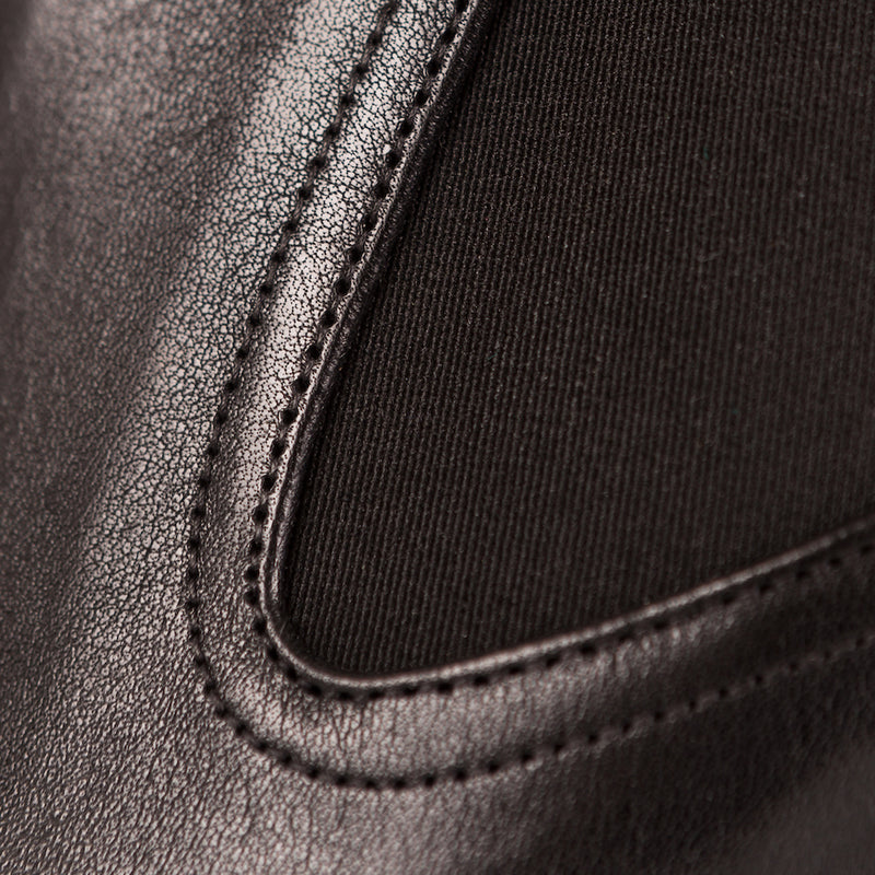 Close up of Black Chelsea Boots Calf Skin Leather