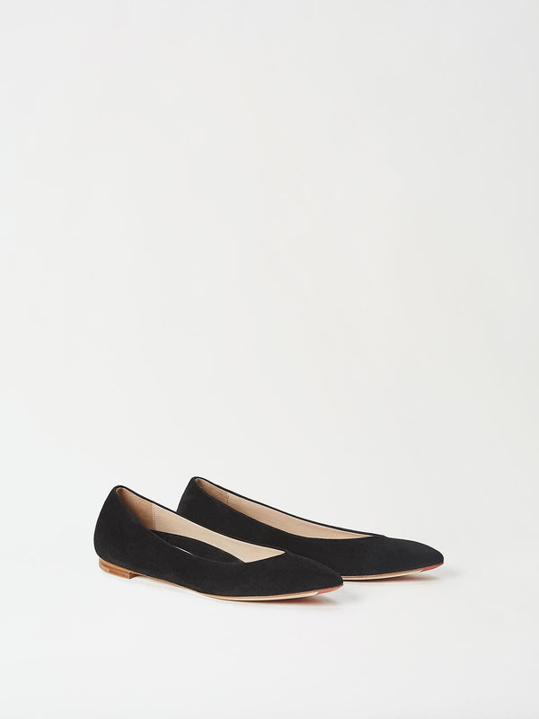A Pair of Mavette Emilia Ballet Flats Black Side-front View