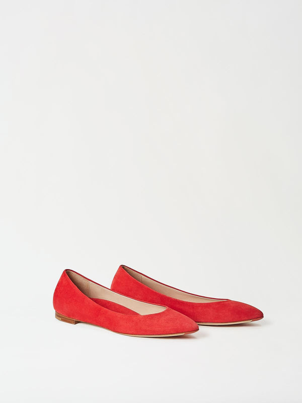A Pair of Mavette Emilia Ballet Flats Red Side-front View