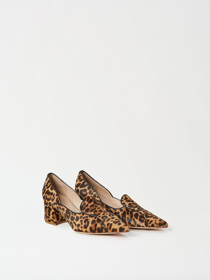 A Pair of Mavette Fiona Loafers Leopard Side-front View