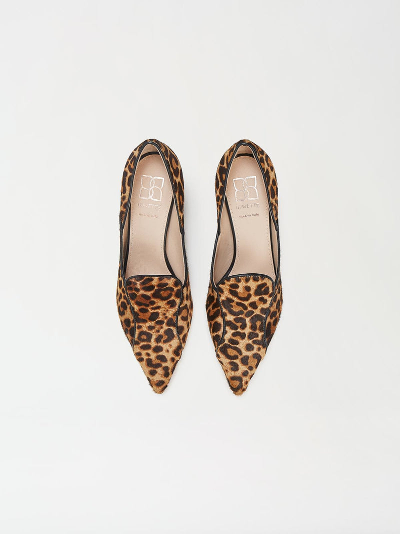 A Pair of Mavette Fiona Loafers Leopard Top View
