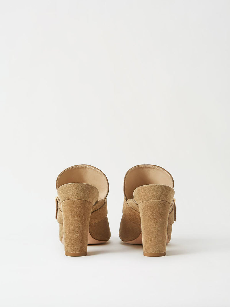 A Pair of Mavette Firenze Mule Tan Back View